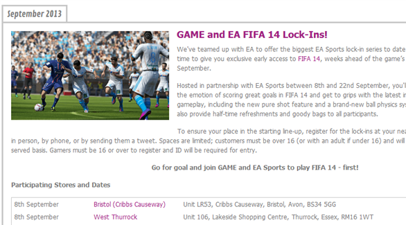 GAME FIFA 14 Event