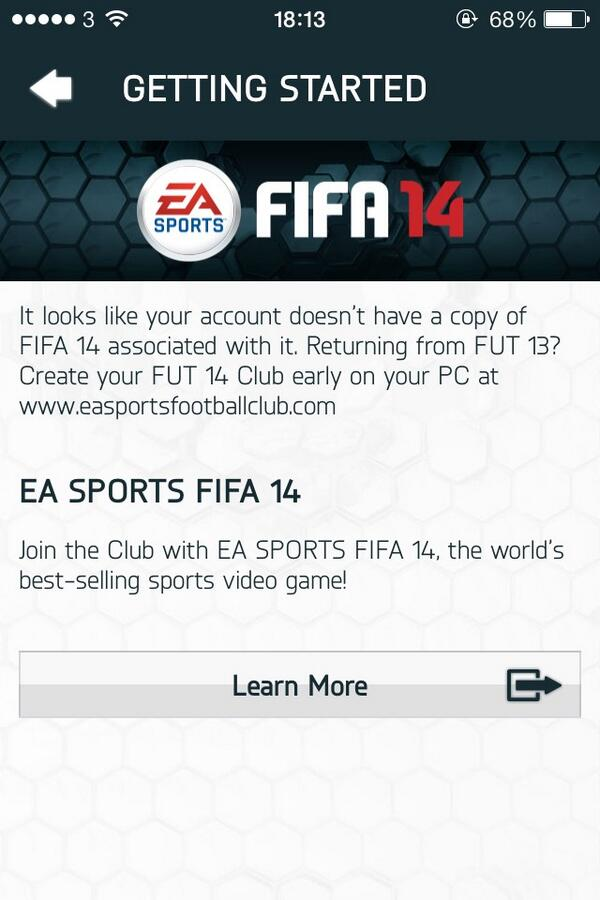 FUT 14 Web App Glitch
