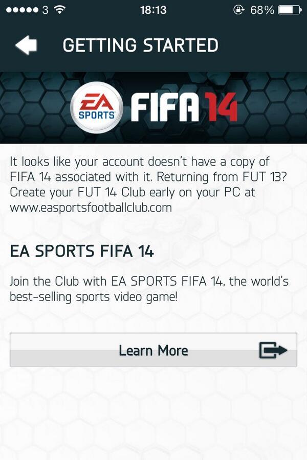 FUT 14 Web App Glitch