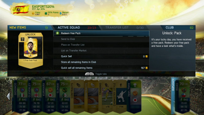 Free FUT Gold Pack