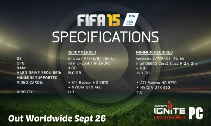 FIFA 15 PC Specs