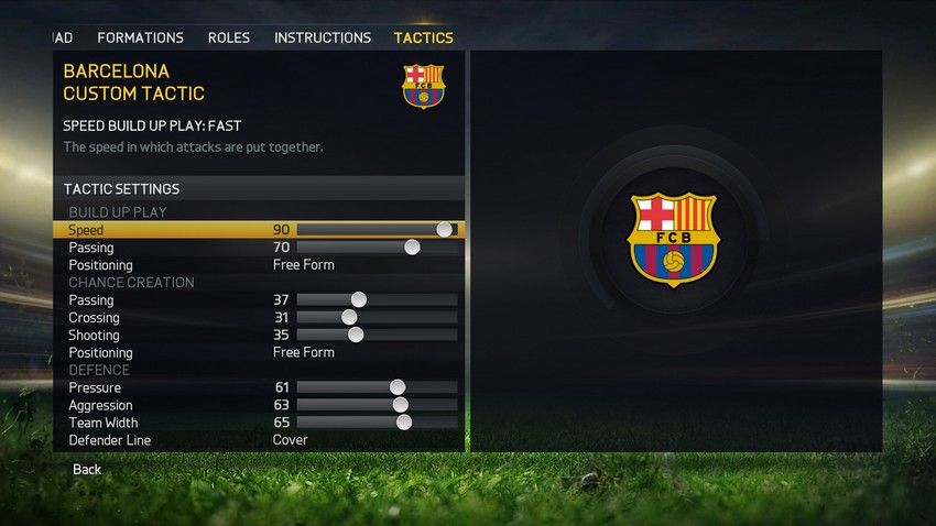 FIFA 15 Tactics Interface