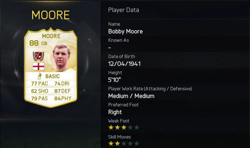 Bobby Moore FUT 15 Rating