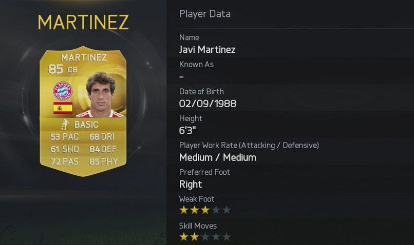 Javi Martinez FIFA 15 Stats
