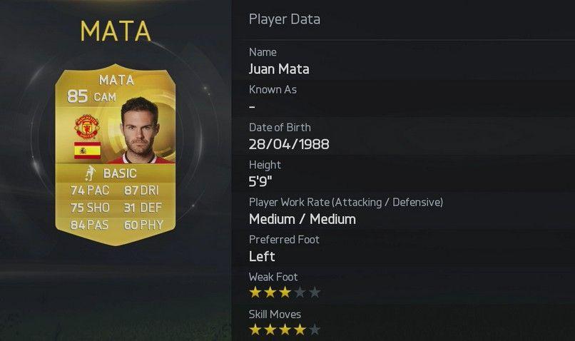 Juan Mata FIFA 15 Stats