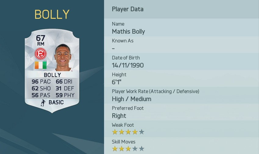 MATTHIS BOLLY FIFA 16 Pace