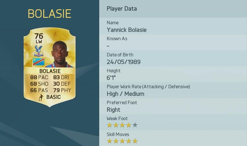 YANNICK BOLASIE FIFA 16